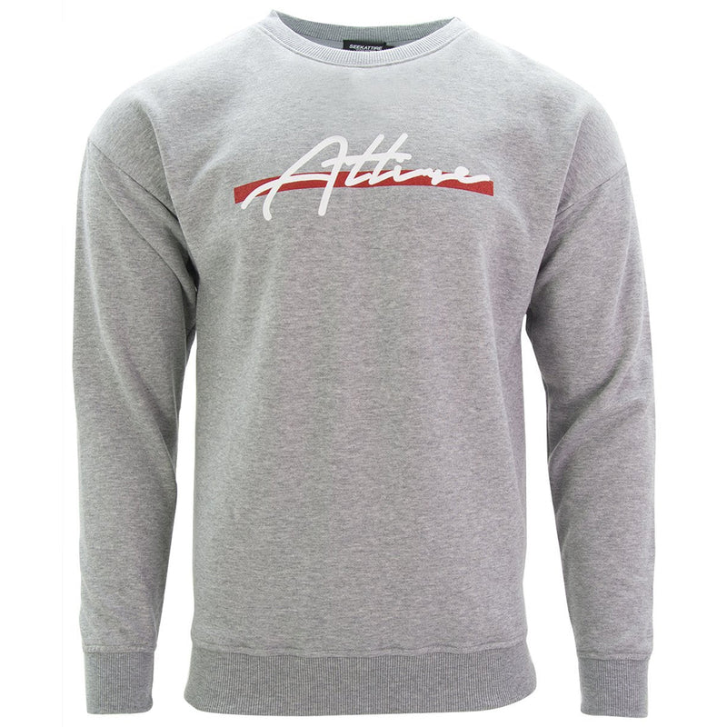 Red Stripe Signature Logo Crewneck Sweatshirt Grey