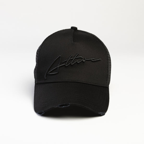 Signature Logo Distressed Mesh Trucker Cap Black