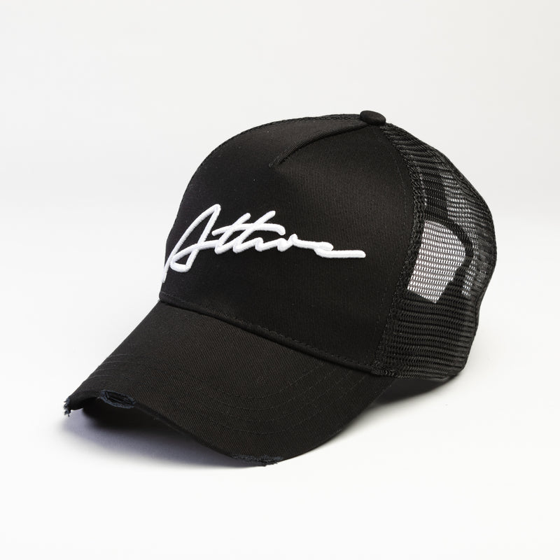 Signature Logo Distressed Mesh Trucker Cap Black / White