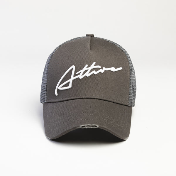 Signature Logo Distressed Mesh Trucker Cap Grey