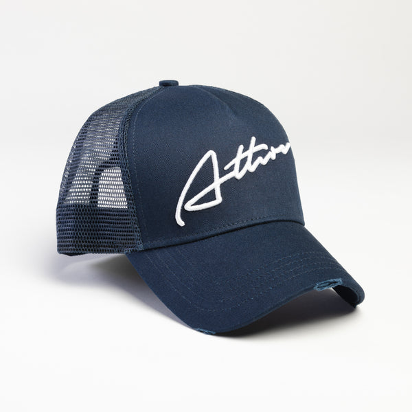Signature Logo Distressed Mesh Trucker Cap Navy