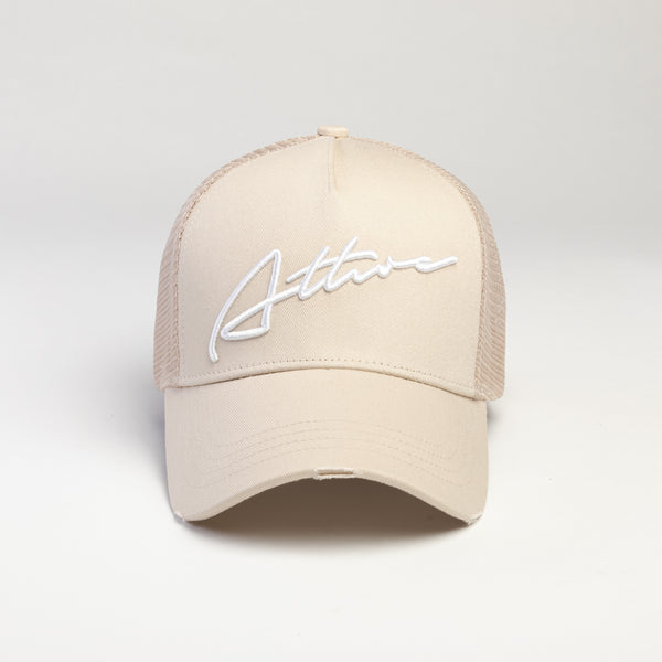 Signature Logo Distressed Mesh Trucker Cap Sand