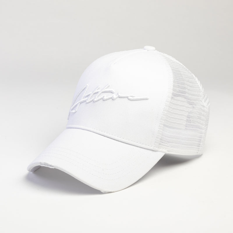 Signature Logo Distressed Mesh Trucker Cap White