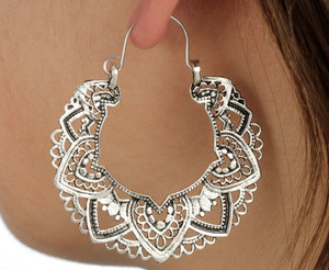 Mandala earrings silver