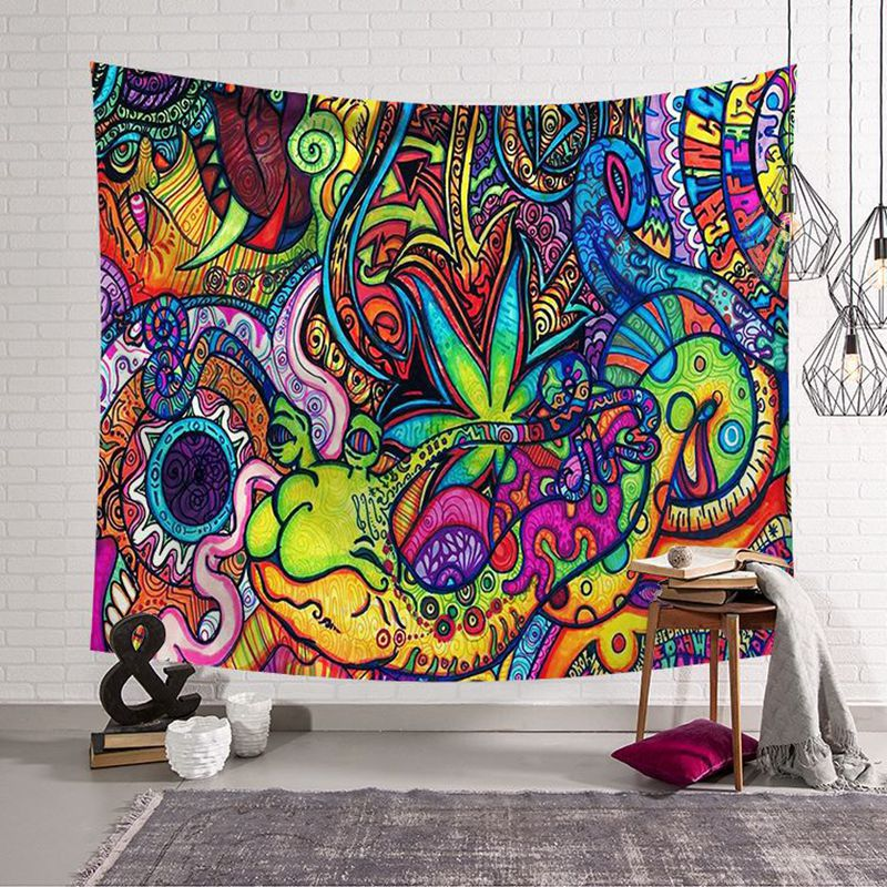 psychedelic wall hanging teal