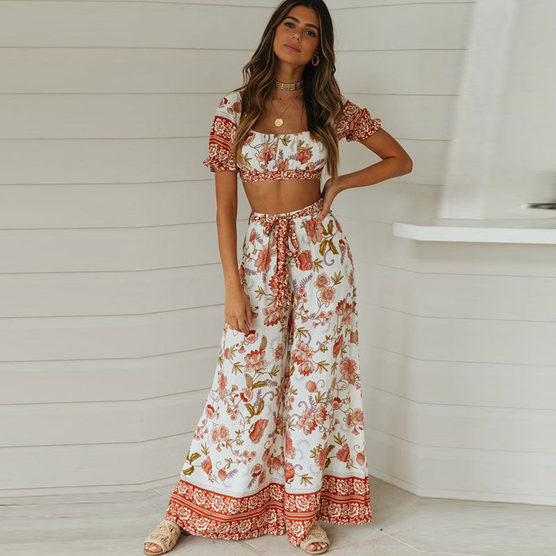 Vintage floral print crop with lace up wide leg pants