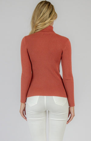 Ribbed Knit Skivvy - Cherry