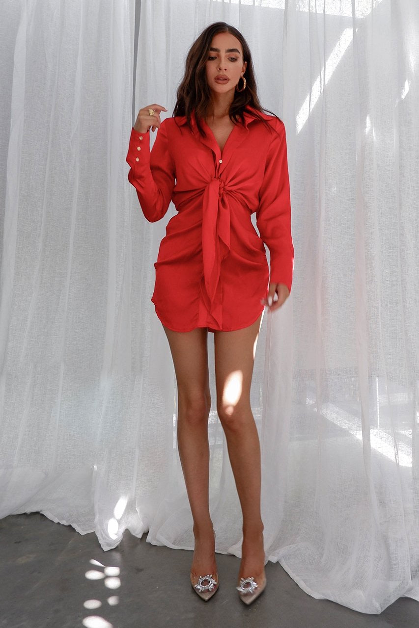 Ruby Shirt Dress - Red