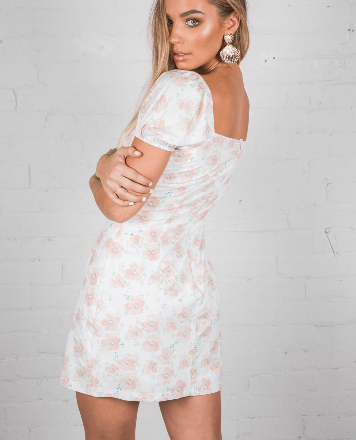 Maggie May Dress - Peach Floral