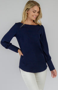 Boat Neck Long Sleeve Top - Navy