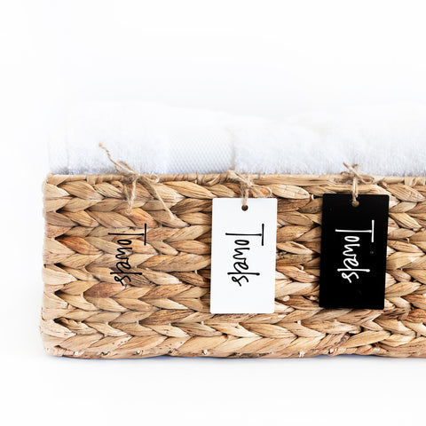 acrylic organizer basket tags with natural jute string
