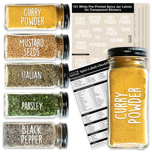 Preprinted Spice Jar Labels - WHITE SUNSHINE