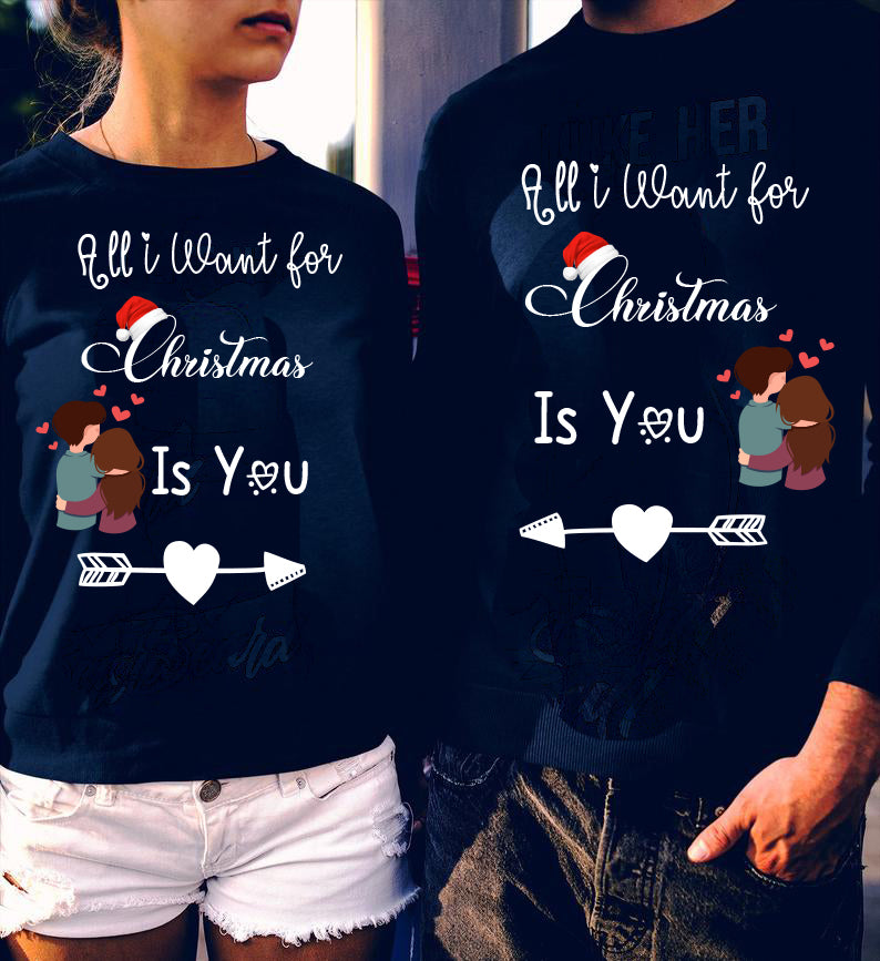 All I Want For Christmas Is You Couple Matching Shirts