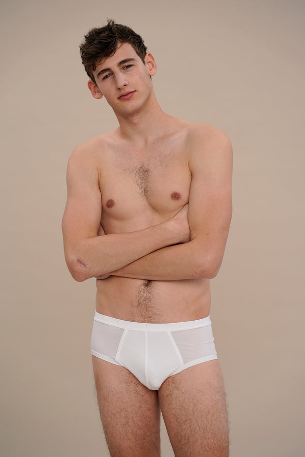 low-rise rib brief in white