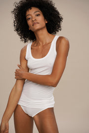 rib tanktop for women in white