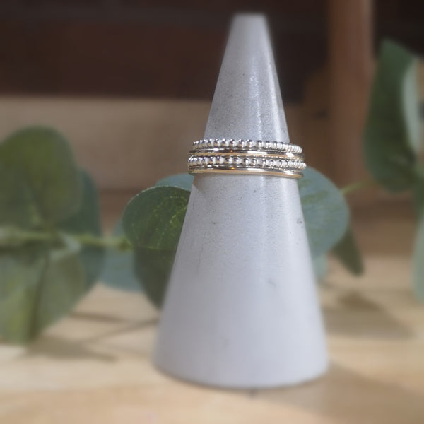 Stacking Ring Set  |  Beaded & 9ct Gold