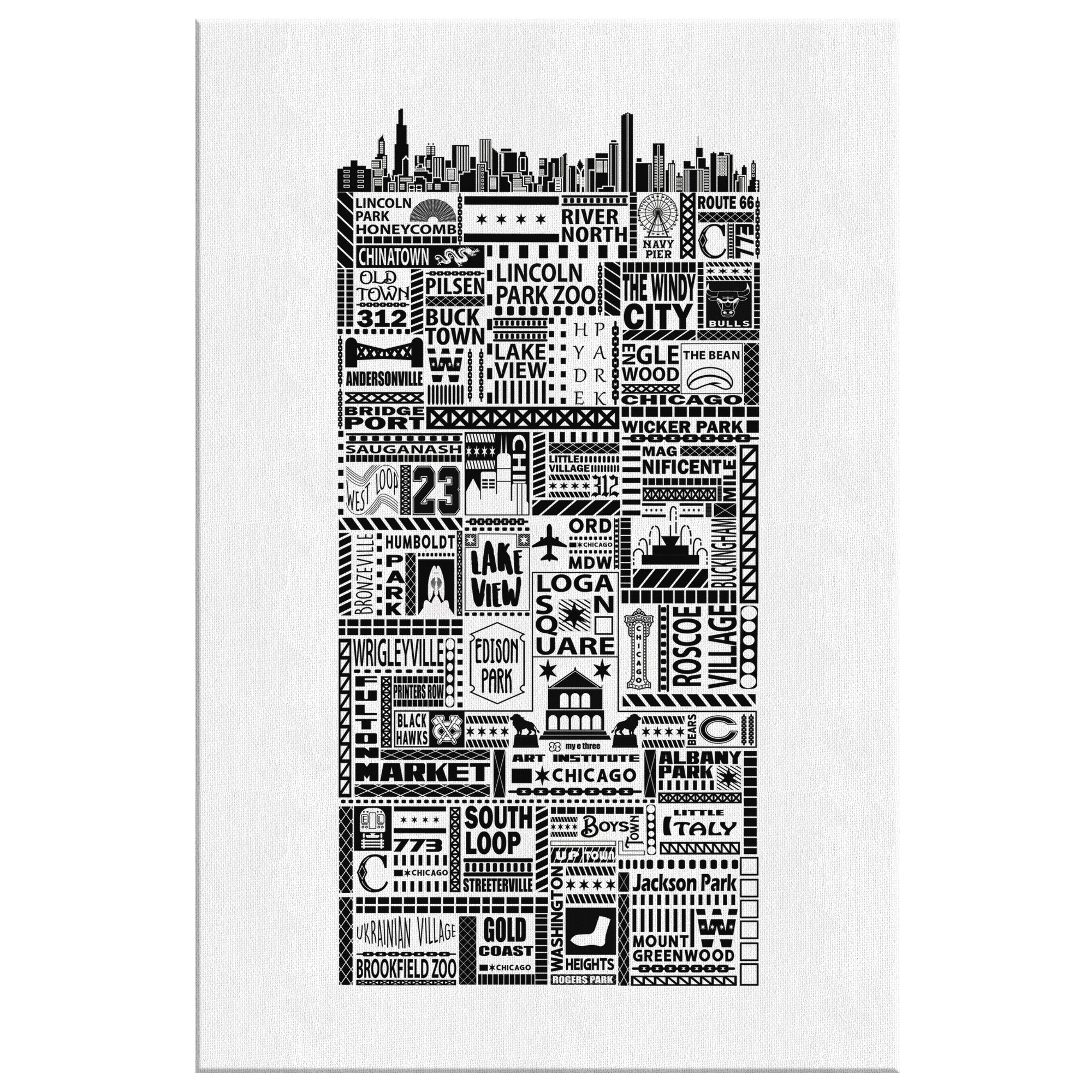 Chi Towns Gallery Wrap Canvas White - My E Three