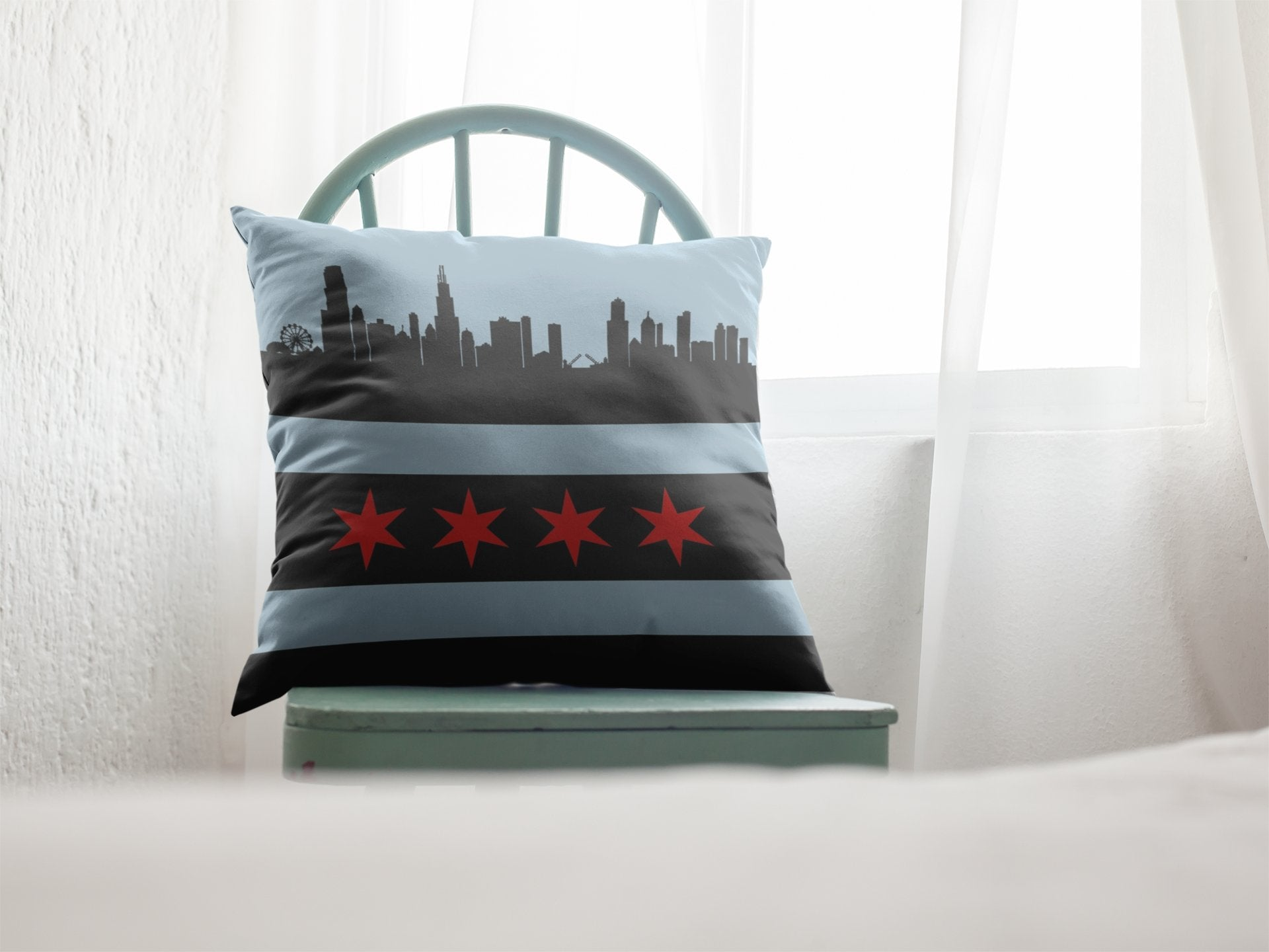 Chicago Black broadcloth pillowPillows Multi - My E Three