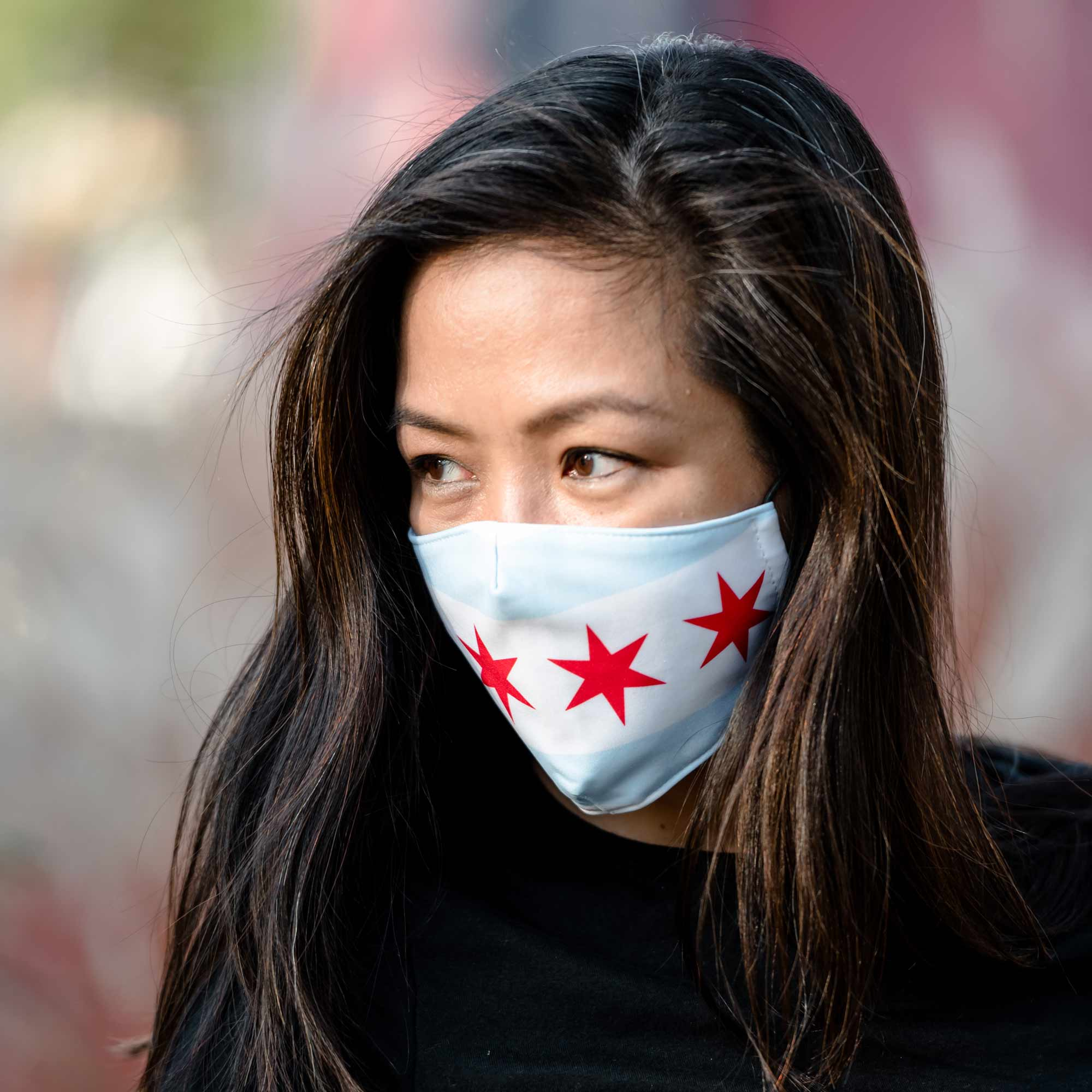 Chicago White face mask with filter pocket - My E Three