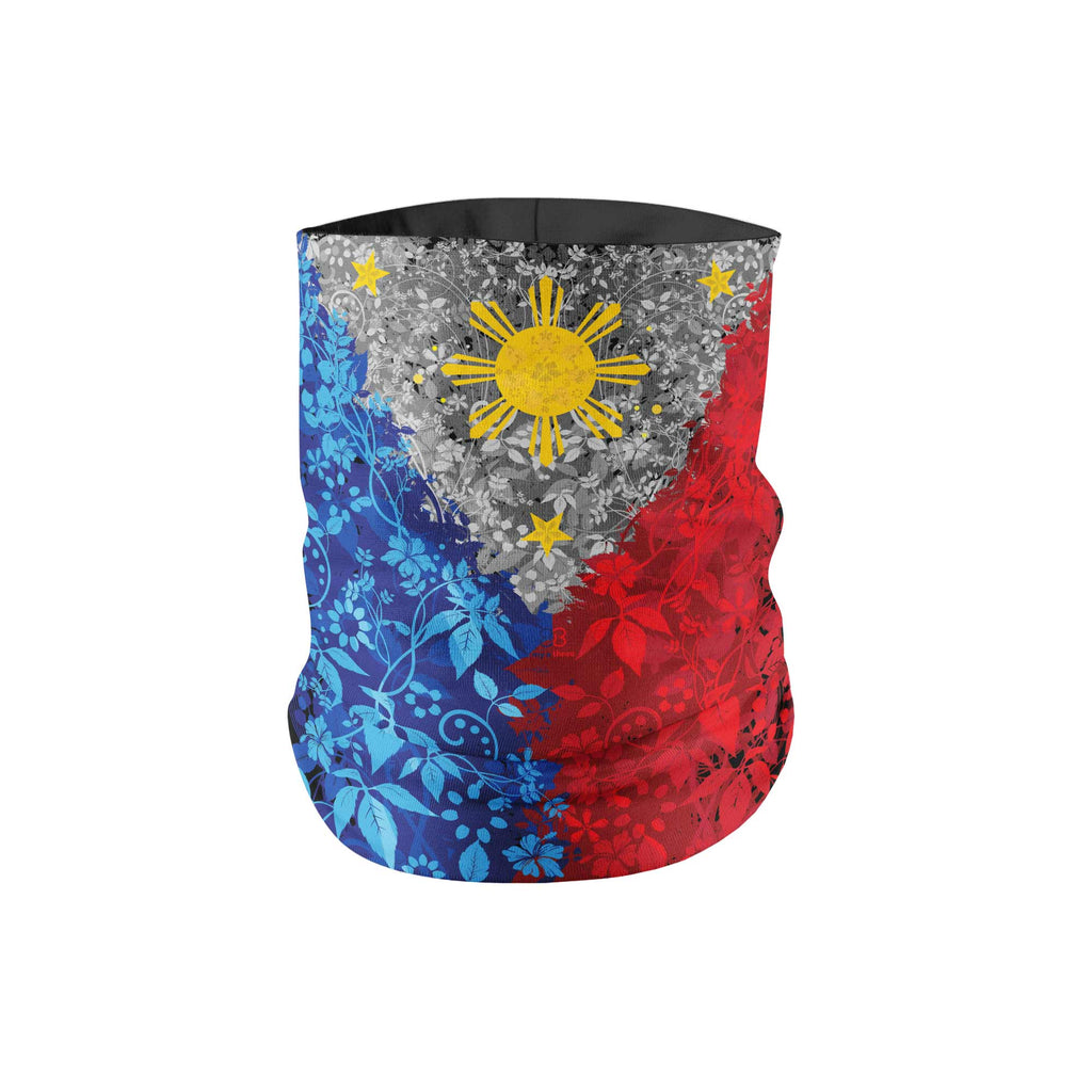 Floral Filipino Flag Neck Gaiter HEMMED - My E Three