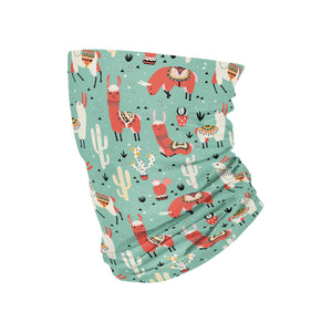 Teal Llama Neck Gaiter fits Kids, Youth and Petite - My E Three