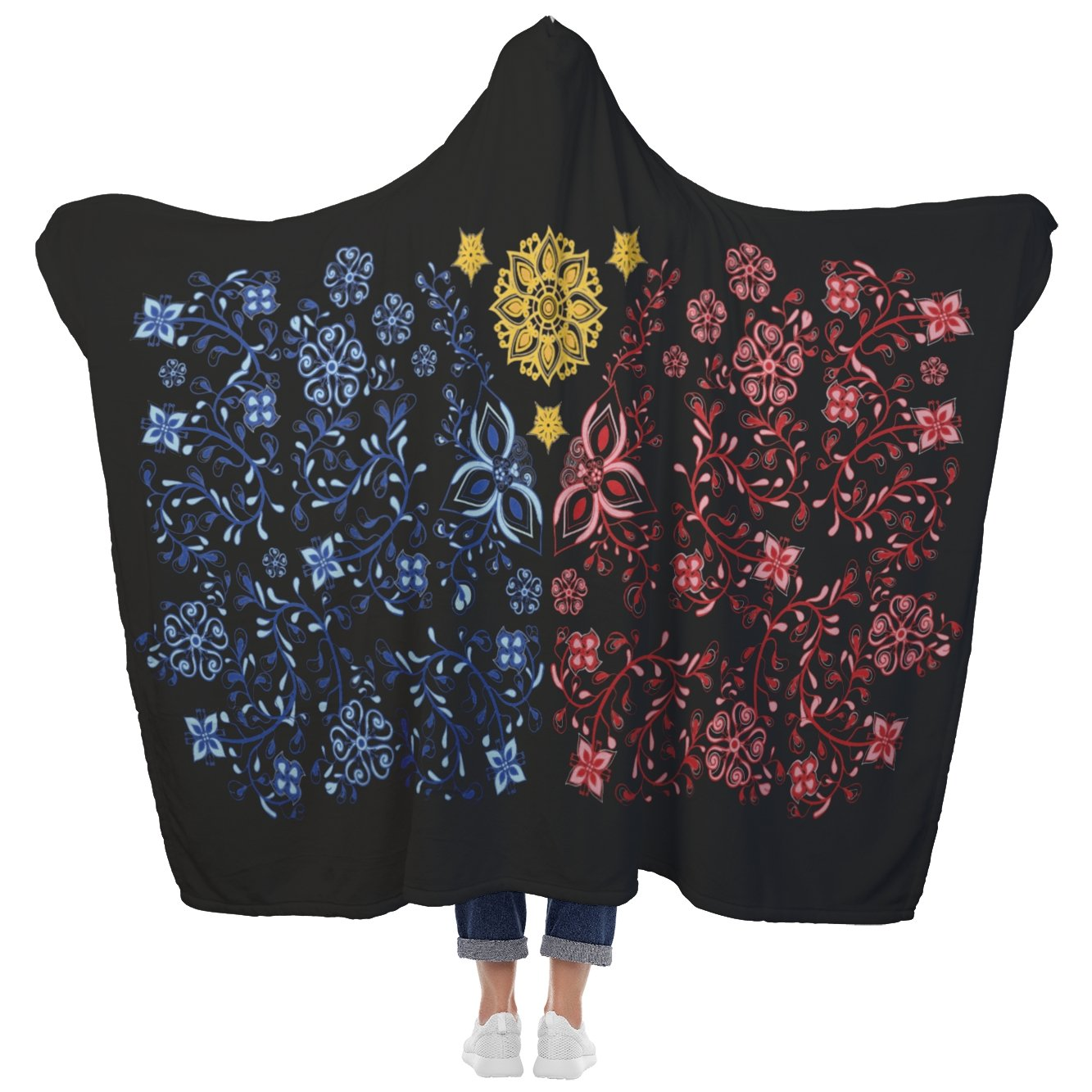 La Pinay Philippines floral design Black - Hooded Blanket - My E Three