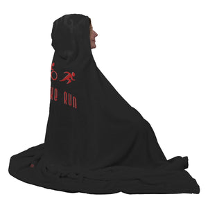 Traithlon Swim Bike Run Black with Red - Hooded Blanket - My E Three