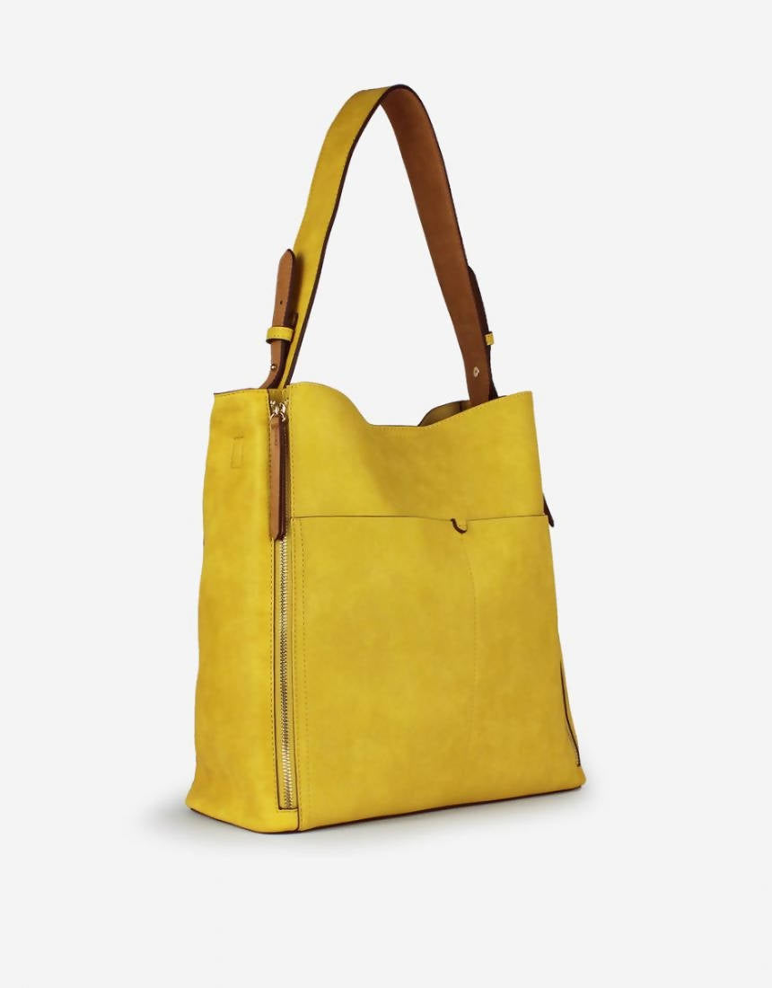 Yellow Multi Pocket Shoulder Tote