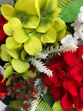 Load image into Gallery viewer, Deep Red Geranium and Green Hydrangeas Summer Wreath.