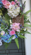 Load and play video in Gallery viewer, Hydrangeas & Roses Wreath.