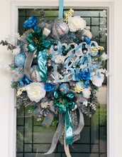 Load image into Gallery viewer, Whimsical Winter White-Blue-Silver Wreath