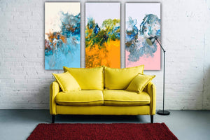 Pink, Yellow, Baby Blue Pastel Colours - Set of 3 Paintings.