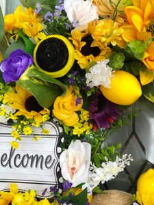 Sunflower-Lemon-Bumblebee Summer Wreath