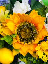 Load image into Gallery viewer, Sunflower-Lemon-Bumblebee Summer Wreath
