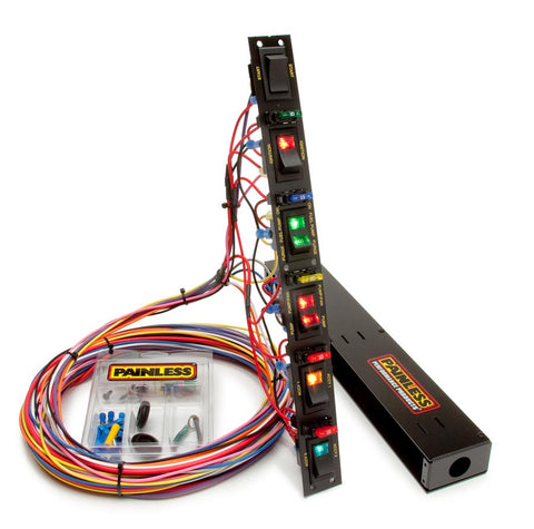 50506 Fused Dragster Vertical 6 Switch Panel with Wiring & Hardware