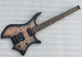 Transparent Black Headless Electric Guitar with 24 Frets Flame Maple Veneer GRWB-WTBK