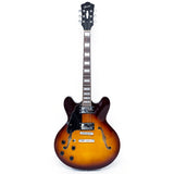 Sunburst GROTE Left-Handed Semi-Hollow Body Electric Guitar