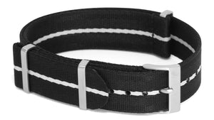 Black with White Stripe Nato Strap by PhenomeNato