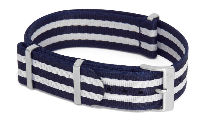 Dark Blue & White nato strap by PhenomeNato