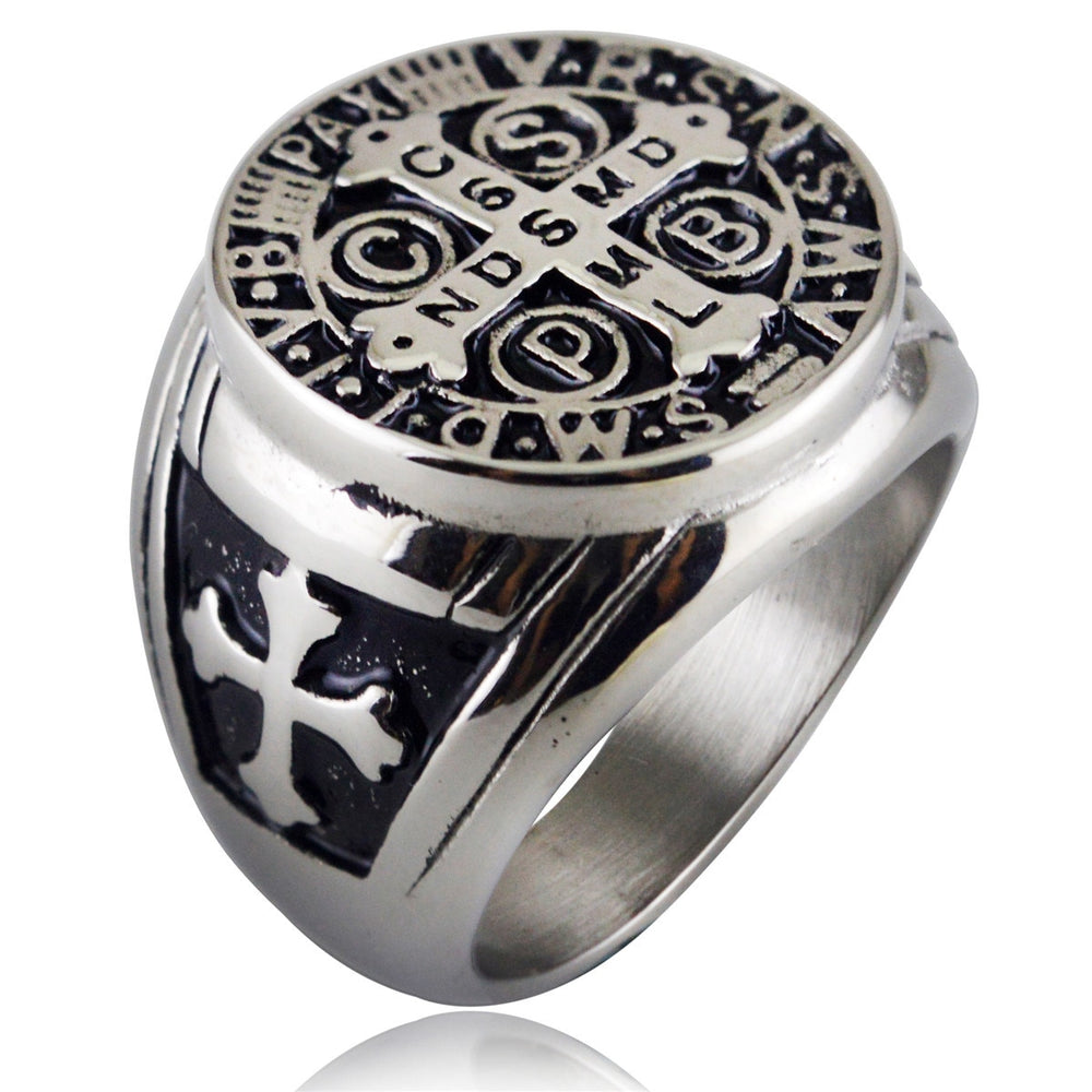 The St Benedict Medal Men's Silver/Gold Ring