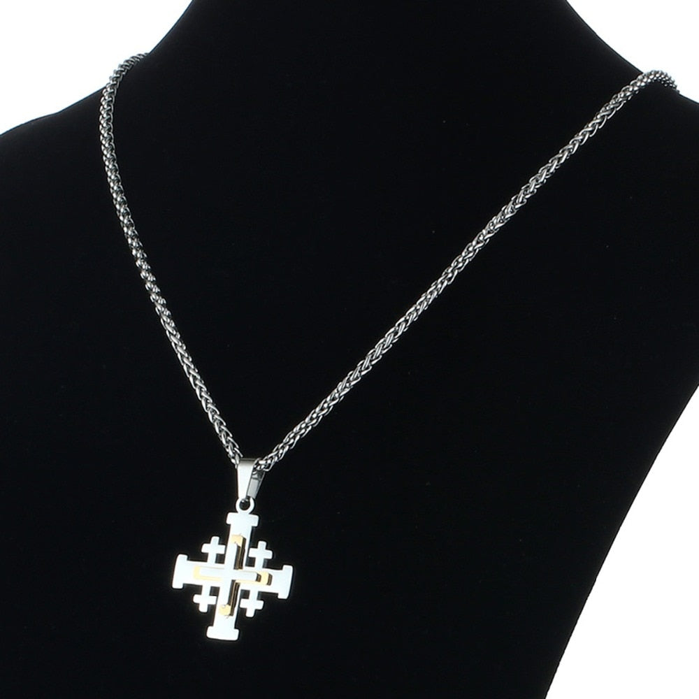 The Silver Jerusalem Cross Pendant Necklace