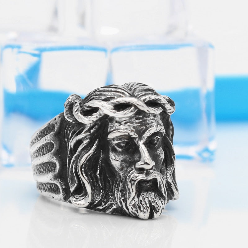The Face of Christ with Crown of Thorns Men's Silver/Gold Ring (Size 7 to 13)