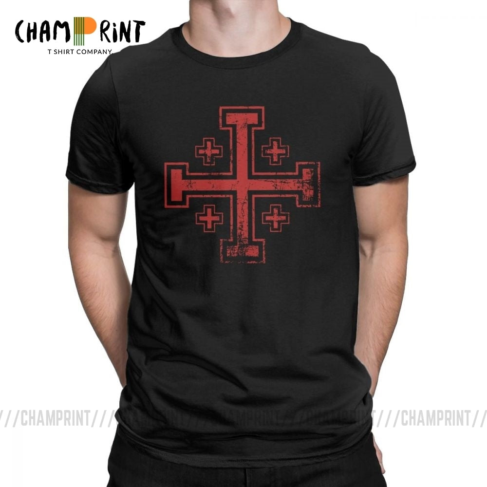 The Distressed Jerusalem Cross T-Shirt (Size S to 5XL)
