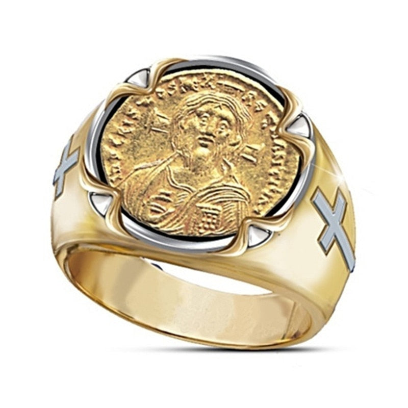 The Christ The Pantocrator Men's Gold Ring (Size 6 to 13)