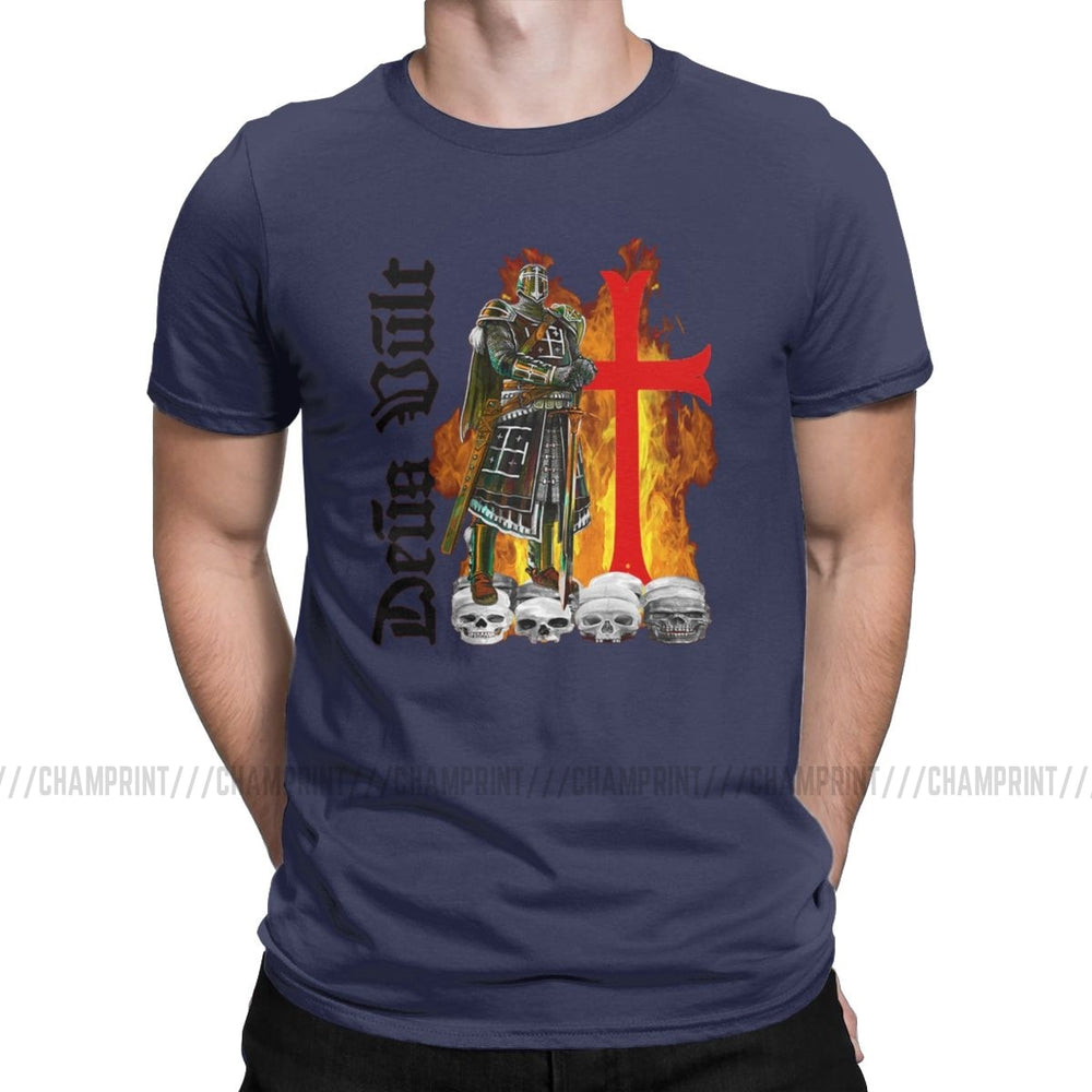 The Deus Vult Crusader Knight & Cross T-Shirt (Sizes S to 6XL)