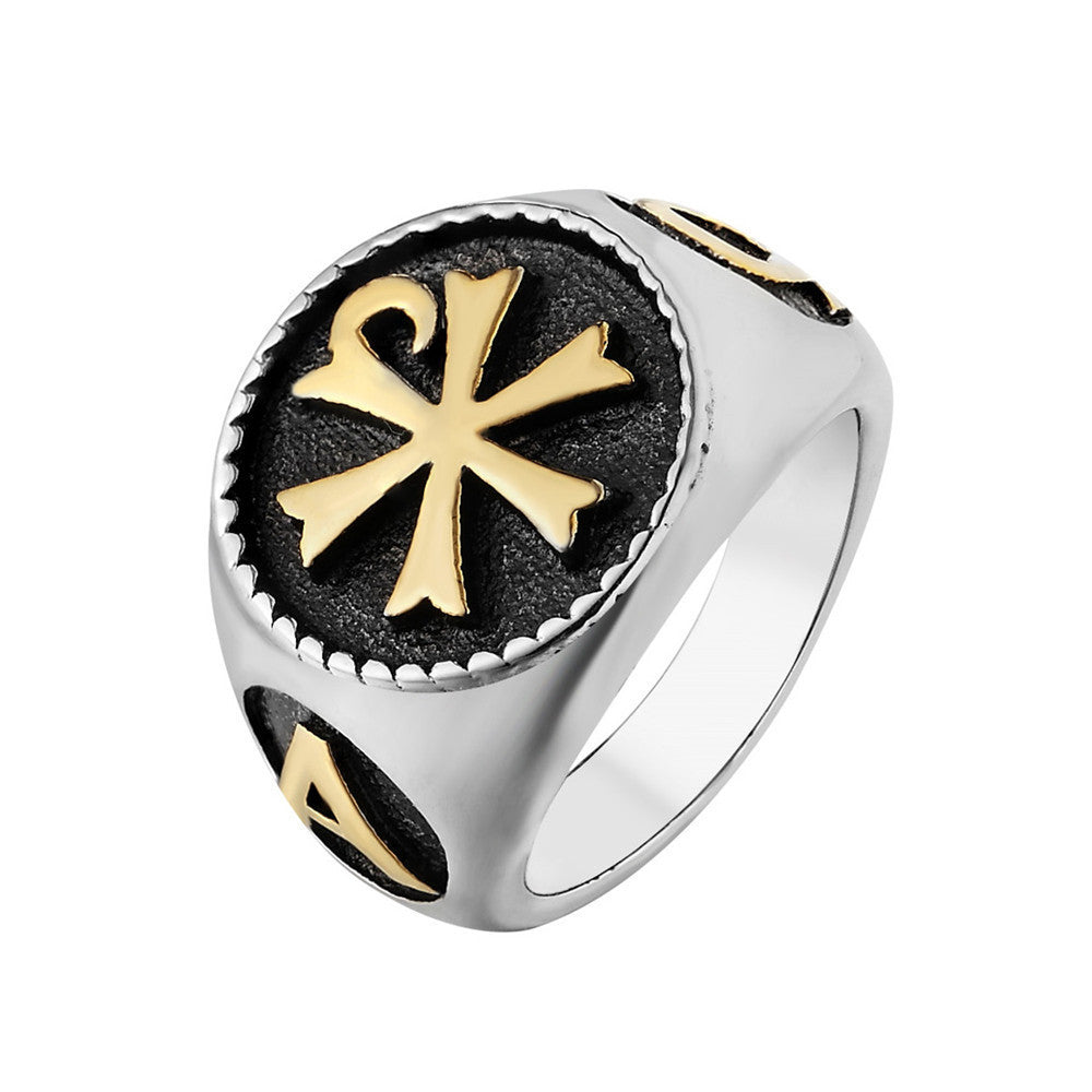 The Chi Rho Christ Symbol Men's Silver Ring (Size 7 to 12)