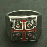 The Red Jerusalem Cross Men's Silver Ring (Size 7 to 14)