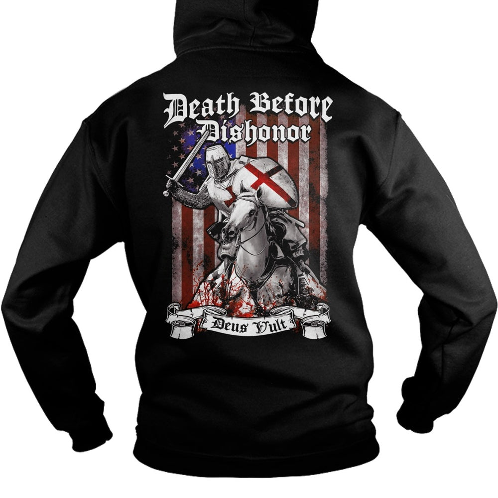 Death Before Dishonor Deus Vult Crusader Hoodie