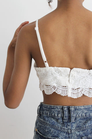 Charlotte Crochet Detail Bralette in Cream