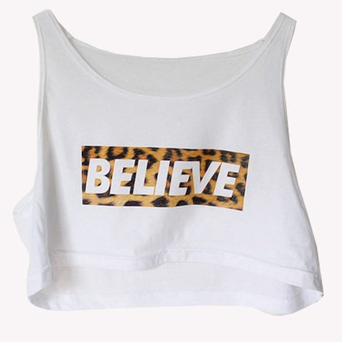 """Believe"" Loose Crop Top"